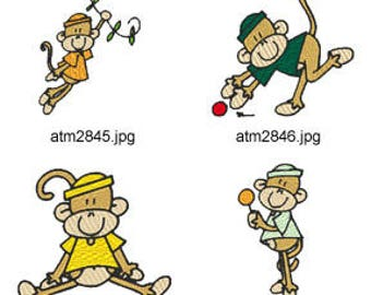 Funny-Monkey ( 7 Machine Embroidery Designs from ATW ) XYZ17D