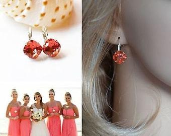 Handmade Bright Coral Swarovski Padparadscha Crystal Fancy Square Radiant Cut Leverback Dangle Earrings, Bridal, Wedding (Sparkle-2626-P)