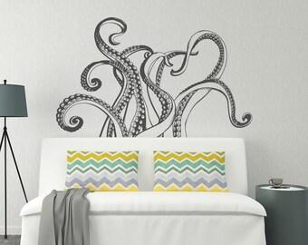 Octopus Tentacles Wall Decal- Octopus Kraken Vinyl Wall Decal- Nautical Wall Decal- Ocean Wall Decals for Bedroom- Sea Animals Decals #36