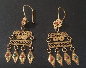 Indian style filigree dangle earrings on ear wires with coral and turquoise accents