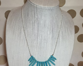 Turquoise Stone Spike Necklace