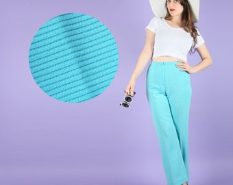Adorable 70s Vintage Aqua Blue 70s High Waist Pants Trousers Slacks XS