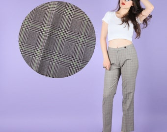 90s Does 70s Vintage Grey Chequered Tartan Pattern Pants Slacks Trousers XS