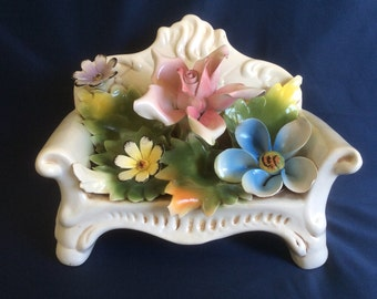 Vintage Capodimonte Flowers on Couch