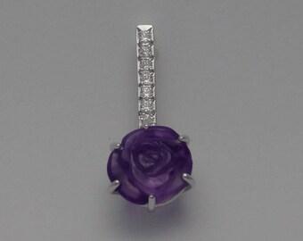 Fancy rose cut amethyst pendant