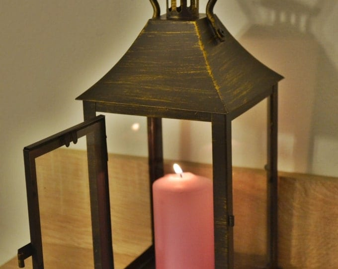 10%OFF Vintage bronze Lantern / Rustic lantern / Lanterns / wedding lanterns / wedding lantern centerpiece