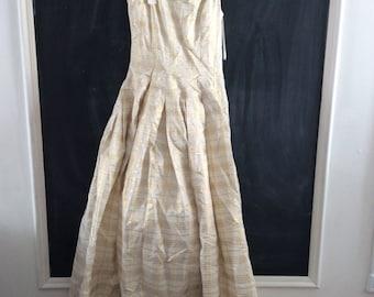 Elegant gold and cream plaid gown Dress