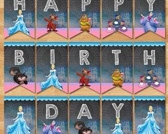 Cinderella Happy Birthday Banner - Chalkboard - Cinderella Banner - Princess Banner - Princess Cinderella Printable - Cinderella Party