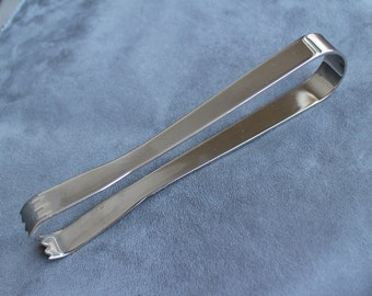 Large Solid Silver Plate Ice Tongs, Vintage Silver Plate Sugar Tongs, Vintage Tongs, Barware Claw Tongs