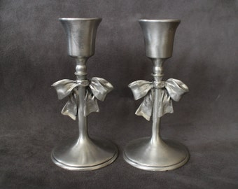 Seagull Pewter Candle Holders, Set of Two Christmas Candle Stick Holders, Candle Holder with a Bow, Vintage 1992