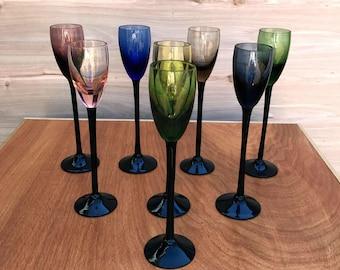 Vintage Long-Stemmed Cocktail Glasses, Vintage Cordial Glasses, Cocktail Glasses, Mid-Century Glasses, Barware, Vintage Barware