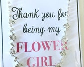 Will You Be My Flower Girl, Flower Girl Gift, Flower Girl Silver Necklace, Rhinestone Flower Girl Jewelry, Flower Girl Thank You Card