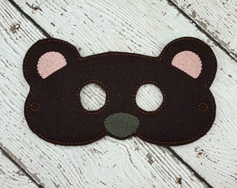 Bear Mask - Woodland Animal Mask - Forest Animal Mask - Pretend Play - Dress Up - Halloween - Party Favor - Camping Party