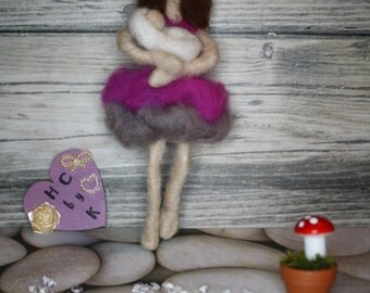 Wool Needle felt fairy mummy and her baby