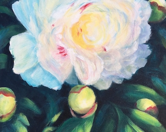 Peony painting, white peony, floral decor, white flower, acrylic painting,  blue pink yellow, deep green, 18x24, garden, cottage decor