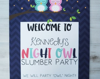 Slumber Party Welcome Sign, Owl Welcome Sign,  Pajama Party Welcome Sign, 8x10 Sign, Owl Party, Sleepover Party