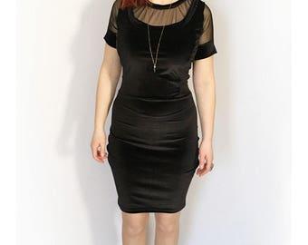 Black Velvet Pencil Dress, Evening Sexy Dress, Black Gothic Prom Dress, Tight Sexy Dress, Femme Fatale Dress, Short Black Cocktail Dress