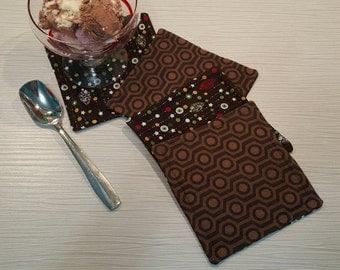 SALE! Save 30% -  Fabric Coasters - Reversible - Large Brown Christmas/Geometric