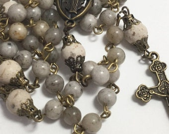 Grey Feldspar bead rosary, gemstone rosary, bronze rosary, handcrafted rosary, first communion, confirmation
