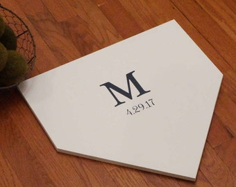 Full size home plate with initial and date. Baseball guest book. Couple initial home plate. Home plate sign. Wedding guest book.