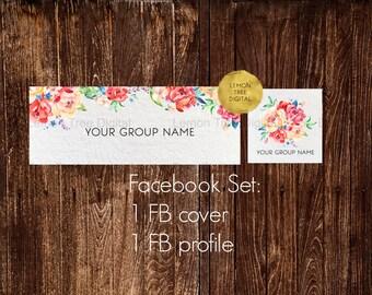 Facebook banner set, facebook timeline cover, floral banner, floral cover, facebook, watercolor banners