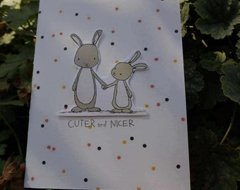 Unique Greeting Card Rabbits ** For Birthday **For the Holidays ** Paper Crafts