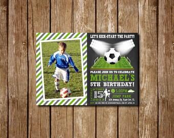Soccer Birthday Invitation, Soccer Invitation, Soccer Invites, Soccer Photo Birthday Invitation, Sports Theme,  Futbol Birthday, with photo