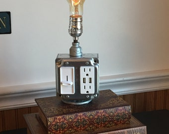 Industrial Lamp, Pipe Lamp, Steampunk Lamp, Industrial Lighting, Galvanized Pipe Lamp, Edison Bulb, USB Charger , Electrical Box, Dimmer