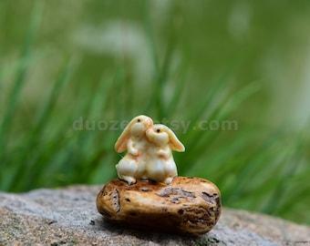 Miniature Enchanted Fairy Garden House Bunnies on A Rock, Fairy Garden Bunny, Fairy Garden Animal, Miniature Rabbit, Rabbit Figurine