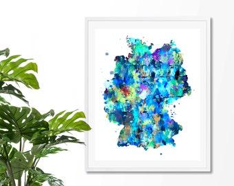 Germany Watercolor Map 2 Art Print, Poster, Wall Art, Contemporary Art, Modern Wall Decor, Office Decor