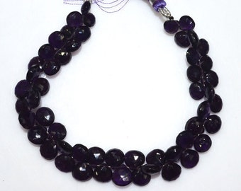 """Natural Amethyst Faceted Heart Shape Beads - Amethyst Heart Shape Briolette , Amethyst Briolette , 6.5x6.5 - 9x9 mm , 8"""" , BL2019"""