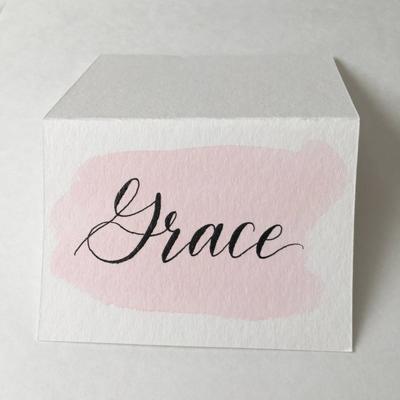 Watercolor calligraphy place cards escort from