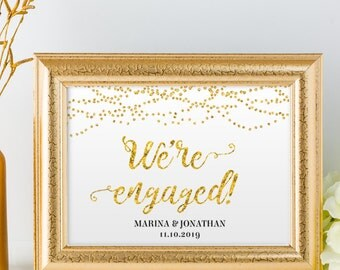 "Printable Gold Foil Look We're Engaged String Lights Sign, 2 Sizes: 14""X11"" and 10""x8"", Editable PDF, Instant Download"
