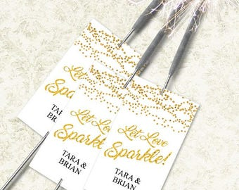 """Printable Gold Foil Glitter Look Let Love Sparkle Sparkler Send-off Cards, Eight 2""""x3.5"""" Personalized Cards, Editable PDF, Instant Download"""