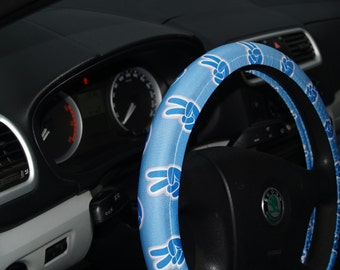 Peace sign steering wheel cover Blue wheel cover Peace steering wheel Car accessories Wheel covers Car accessories set  Blue car decor Gift