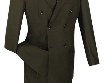 Classic-fit double breasted men's suit 2 piece brown suit solid color new with tag