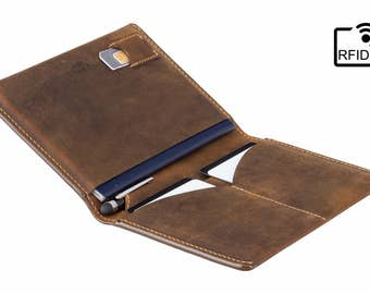 RFID Leather Passport Holder / Travel Wallet - Raw Tan - A-SLIM - Hoshi - Passport Cover - Passport Wallet - Travel Holder - Distressed