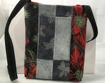 Sonoma Crossbody for women, Cellphone Pocketbook, Small Swing Shoulder Bag, mini tablet, outside pocket for phone, travel Christmas Glitz