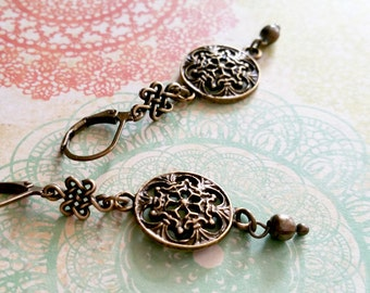 Bronze Earrings / Bead Earrings / Vintage Earrings / Flower Earrings / Victorian Earrings / Boho Earrings