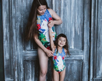 One piece swimsuit, Mother daughter swimwear Matching swimsuit, Cat girls bathing suit, Family look swimwear, Modest swimsuit CAT IN FLOWERS