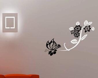 Butterfly leading floral swirl wall vinyl