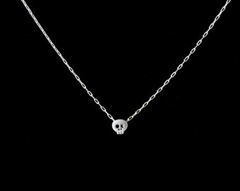 Rhodium plated Mini Skull Necklace with Sterling Silver Chain