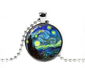 Starry Night Necklace Pendant Van Gogh Starry Night Necklace