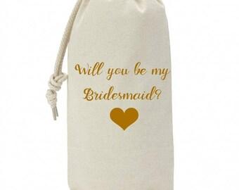 Ask Bridesmaid Wine Bag Gift, Be My Bridesmaid Gift Proposal, Bridesmaid Proposal Gift Wine Bag