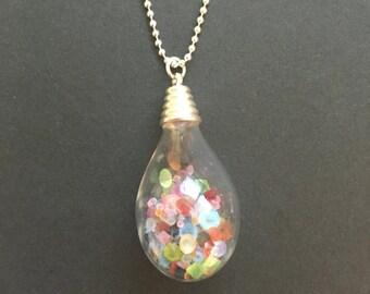 Multi coloured Swarovski crystals drop necklace