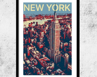 New York City Urban Art Print, Shepard Fairey-Hope Poster Inspired Print, NYC Wall Decor