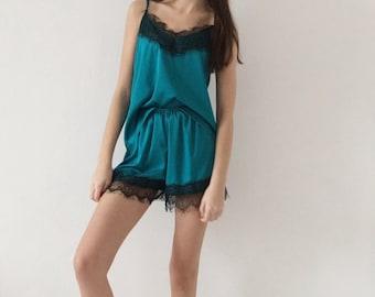 Women's silk pajama set | Silk short | Silk shirt with lace | Pajama set short | Vintage pajamas sets