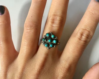 Vintage Sterling Silver + Turquoise Women's Flower Ring size 6