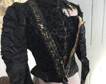 Vintage 1800's Victorian heavily beaded black velvet and silk blouse