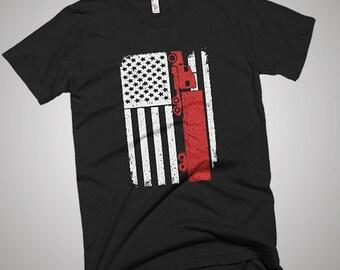 Truck Driver Trucker USA American Flag T-Shirt